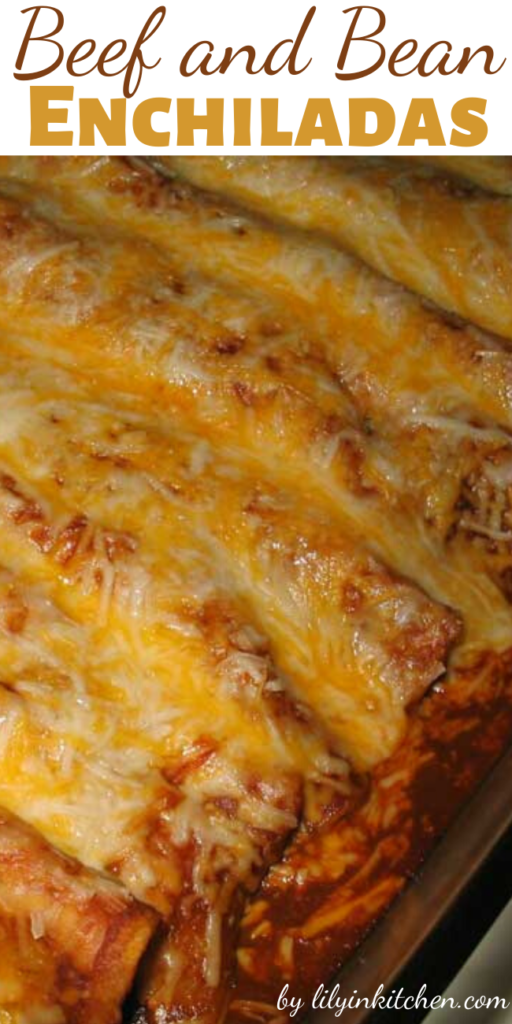These Beef and Bean Enchiladas are snap to make and taste great. They were even good reheated for lunch the next day. I served this with some Mexican rice and chips and salsa.