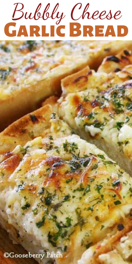 We love all varieties of bread, but this Bubbly Cheese Garlic Bread is our favorite. Add a little garlic, some butter, a bunch of cheese, and throw it in the oven…and we're in heaven!