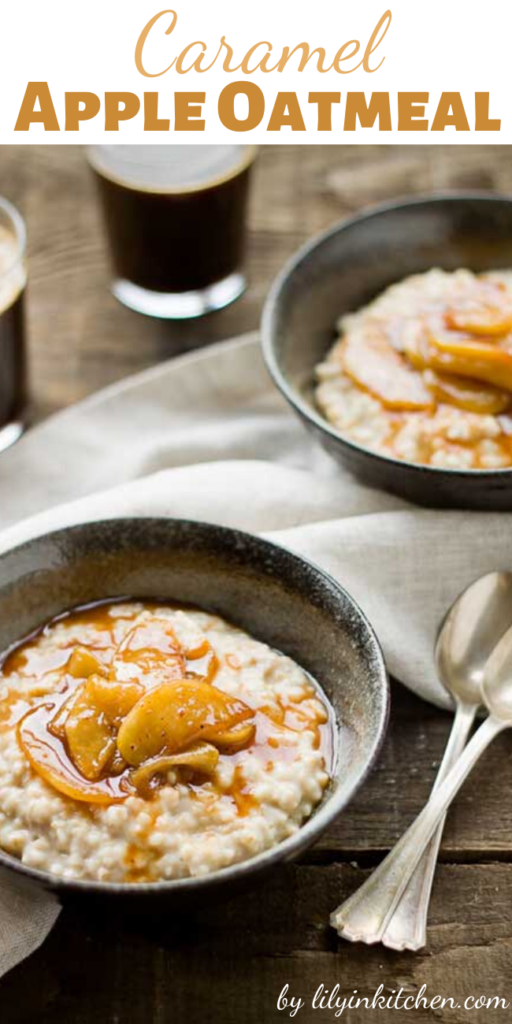 With this Caramel Apple Oatmeal recipe you can now have caramel apples for breakfast! My life is now complete!