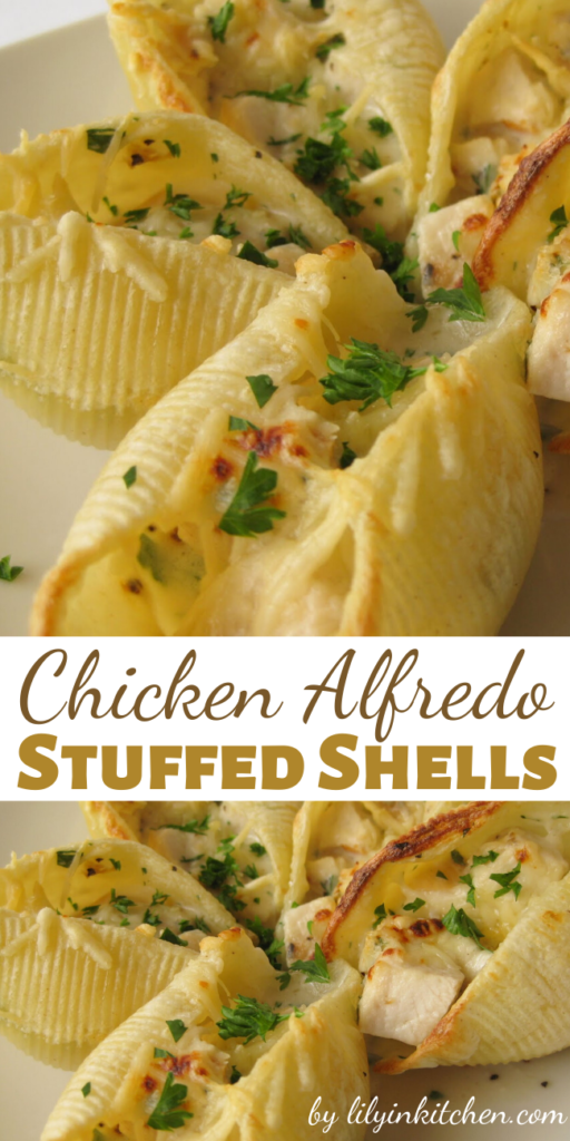 These Chicken Alfredo Stuffed Shells, filled with warm, gooey cheese, are always popular. The tender chicken and rich sauce make the dish so satisfying, you may just not be able to make enough of them!