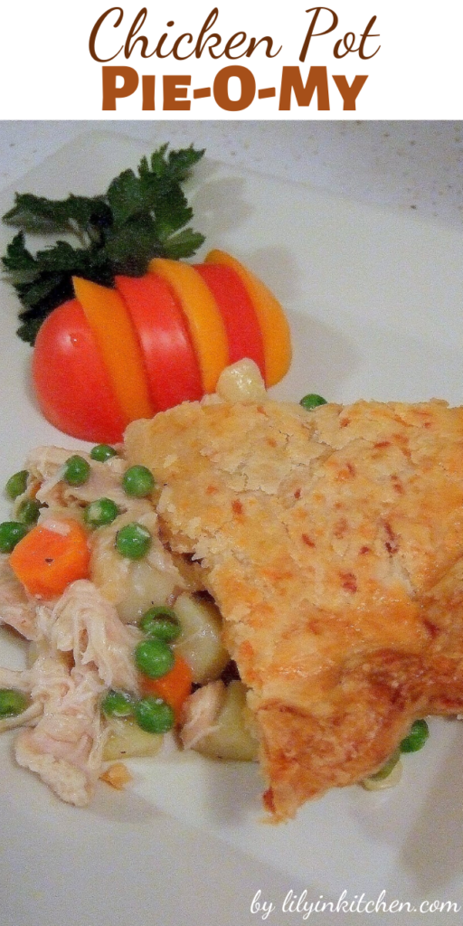 This Chicken Pot Pie-O-My is chunks of tender chicken, lots of vegetables and a tasty crust. It has everything good, a perfect comfort food kind of meal for me!