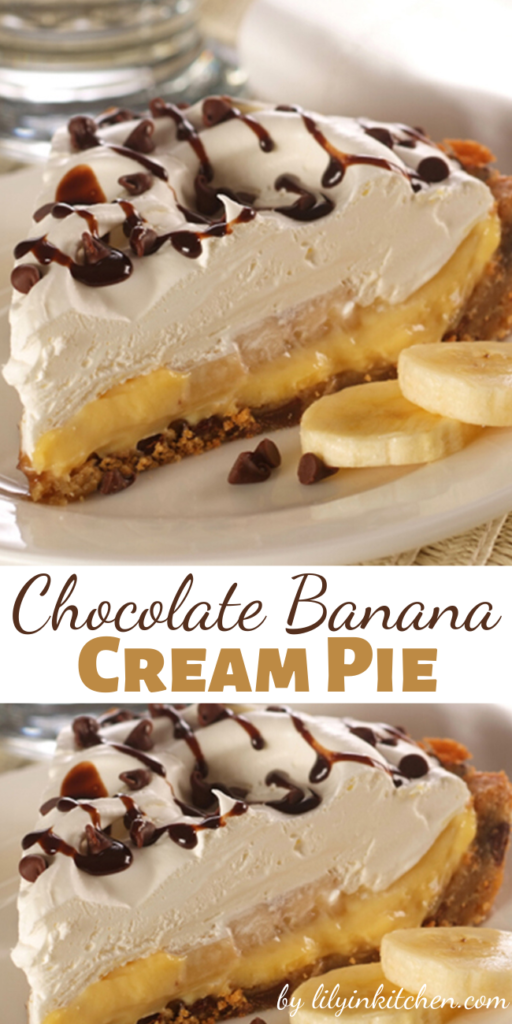 Banana cream pie made easy! A chocolate chip cookie dough crust makes this Chocolate Banana Cream Pie the perfect dessert!