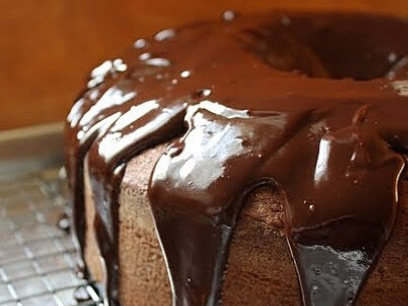 Chocolate Glazed Chocolate Chip Pound Cake