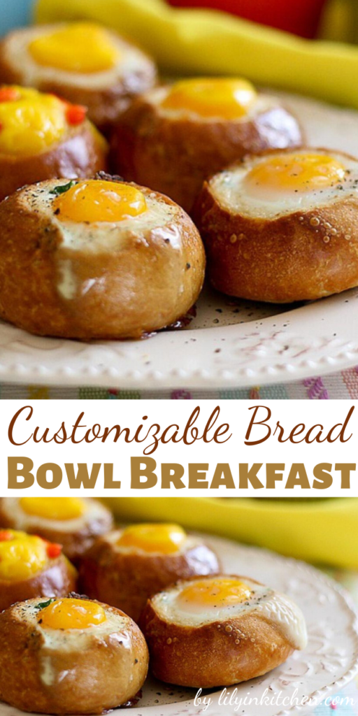 Recipe for Customizable Bread Bowl Breakfast – It's so creative (yet simple) and allows for a variety of fillings depending on preference. Plus it looks amazing and is sure to impress