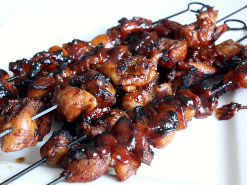 Grilled Barbecued Chicken Kebabs