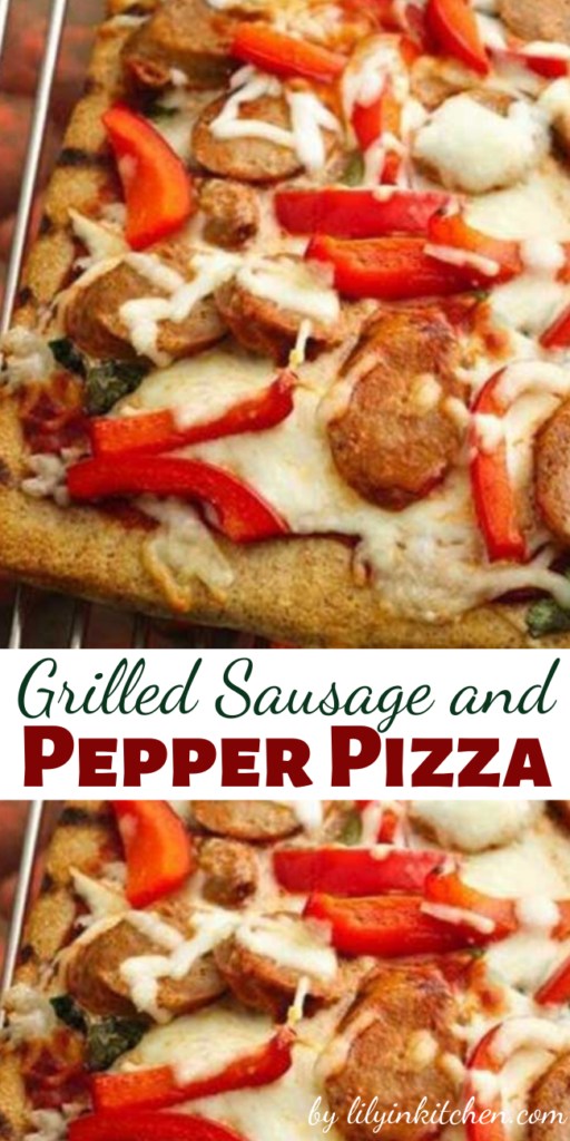 This Grilled Sausage and Pepper Pizza on the grill is really easy with Pillsbury pizza crust. Top with turkey sausage, bell pepper and cheese; it's delicious!