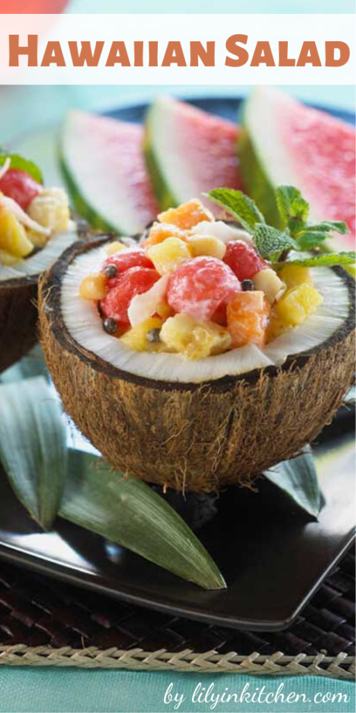 """This cute Hawaiian Salad will bring the luau spirit to your next gathering. It is sure to have all the """"keikis"""" asking for more!"""