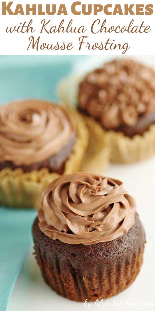 Kahlua and chocolate, two flavors that are perfect on their own. Combine the two and…good luck not eating all of these Kahlua Cupcakes with Kahlua Chocolate Mousse Frosting on your own.