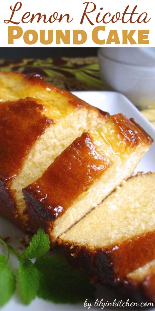 This Lemon Ricotta Pound Cake is incredibly moist and delicious. Somehow there is nothing better than lemony treats. It's also a cinch to throw together.