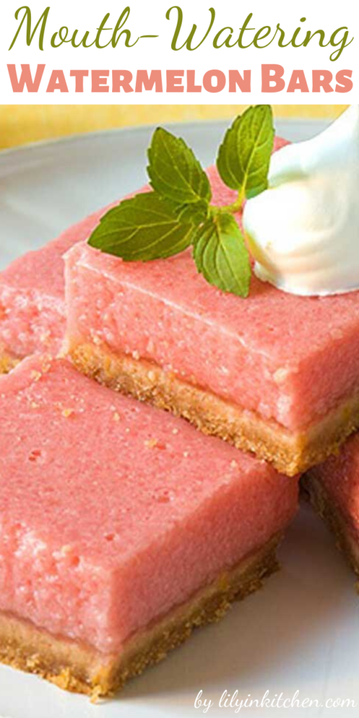 Watermelon and lemon give you the perfect taste of summer in these refreshing, summery, Mouth-Watering Watermelon Bars.