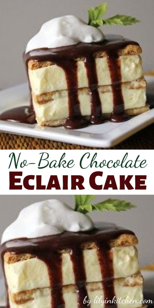 This is a No-Bake Chocolate Eclair Cake that's so quick and easy to make–everyone loves it. I always keep the ingredients on hand in case I need a quick dessert.