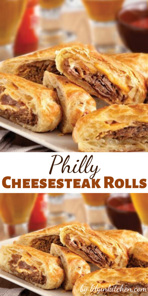 These upscale Philly Cheesesteak Rolls feature flaky puff pastry instead of ordinary rolls.  They're easy to make, and even easier to enjoy!