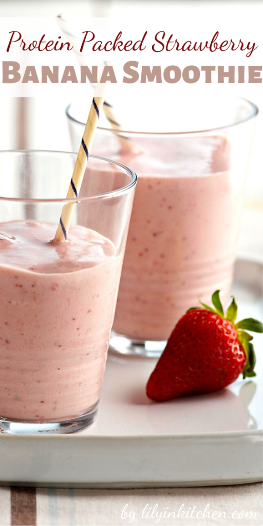 This Protein Packed Strawberry Banana Smoothie is scrumptious and satisfying…and let's not forget healthy.