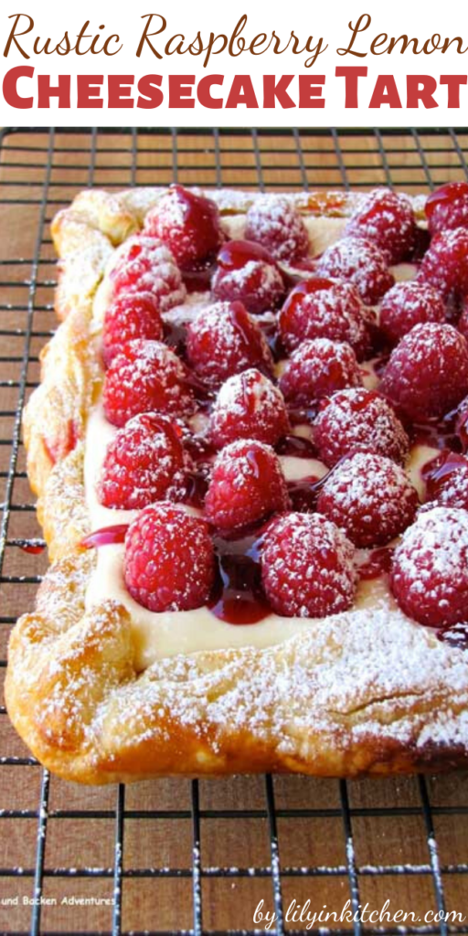 The combination of flaky crust, creamy filling, and fresh fruit makes this Rustic Raspberry Lemon Cheesecake Tart irresistible in my book.