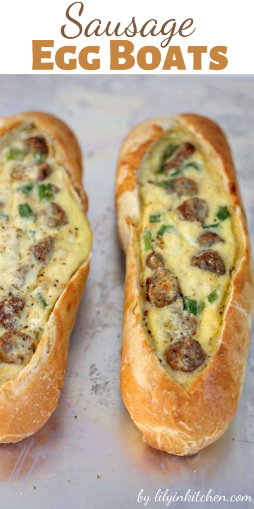 These egg boats are a new breakfast favorite because they literally take less than five minutes to prep. Sourdough baguettes filled with sausage, eggs and lots of cheese, baked until hot and toasty… so so good!