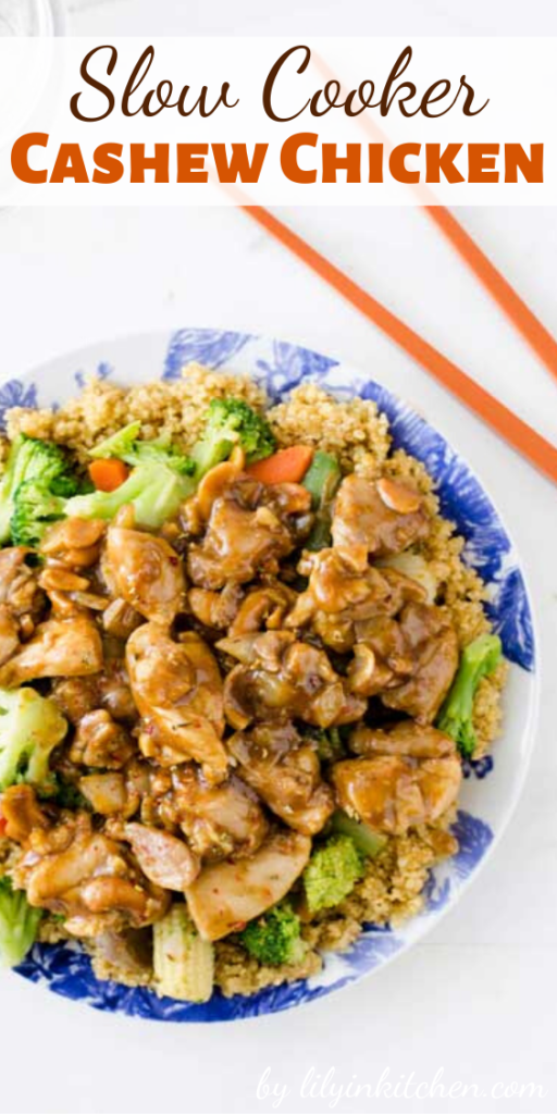 I love the savory chicken pieces with the crunchy cashews. PLUS it is super easy to make! You can have this ready and in the crock pot faster than you can get your kids in the car and drive to the nearest Chinese place for take-out.