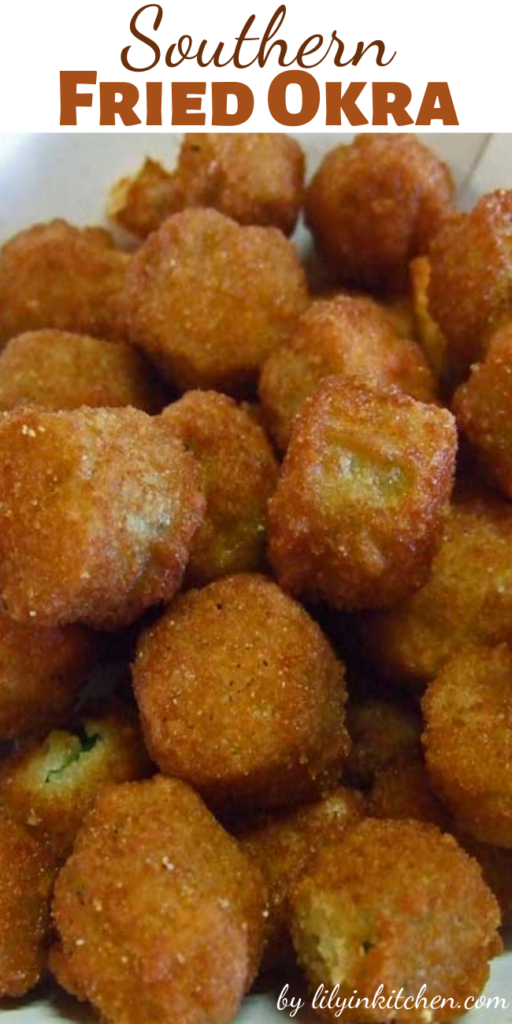 Fried okra is my all-time favorite vegetable. It is the only green vegetable that I get excited about eating. I can eat a ton of it.