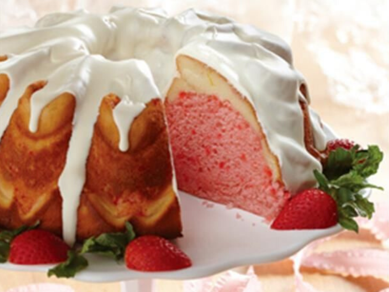 Strawberry Cream Cheese Ribbon Cake