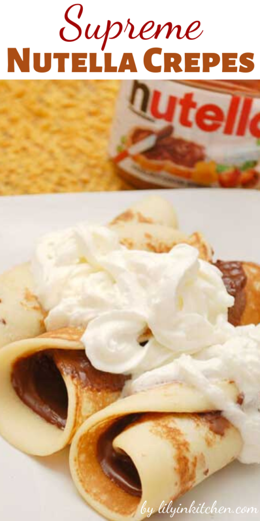 Crepes can be either savory or sweet. This Supreme Nutella Crepes recipe uses Nutella (a chocolate hazelnut spread) as the filling, although any other sweet filling will also work with this recipe.