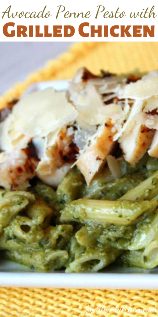 There were rave reviews all around for this Avocado Penne Pesto with Grilled Chicken! The avocado brings a creaminess and delicious flavor to the sauce and may even be better than traditional pesto!
