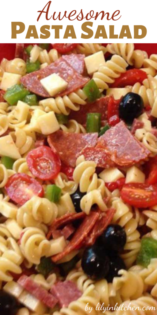 This Awesome Pasta Salad is the best pasta salad I've ever eaten, and people request it frequently. It's a very easy, light side dish for a picnic or dinner.