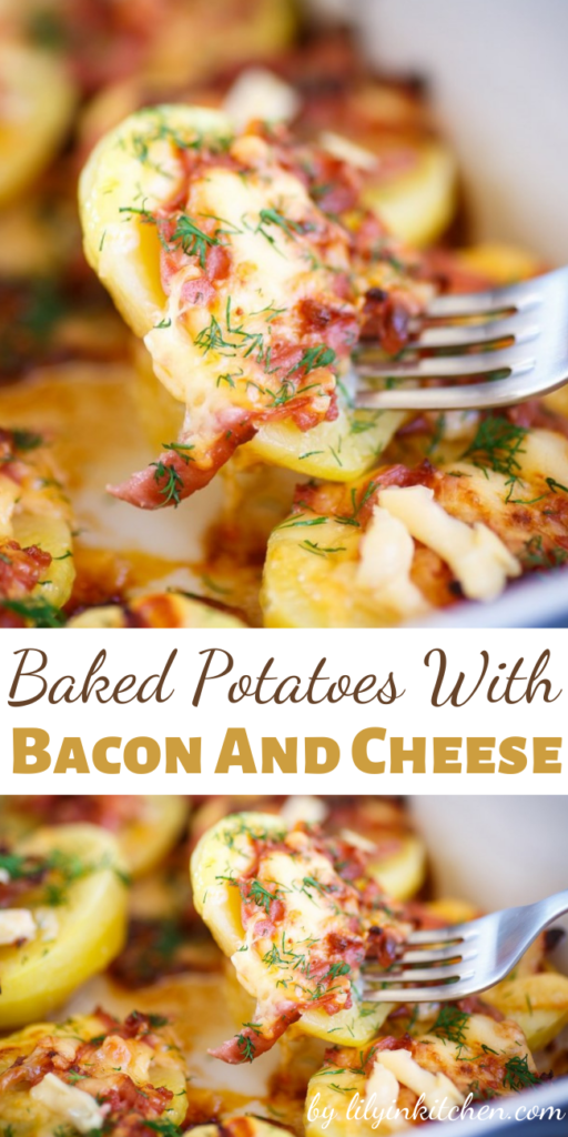 How do you make baked potatoes even better? With this Baked Potatoes With Bacon And Cheese Recipe. Bacon and cheese make EVERYTHING better!