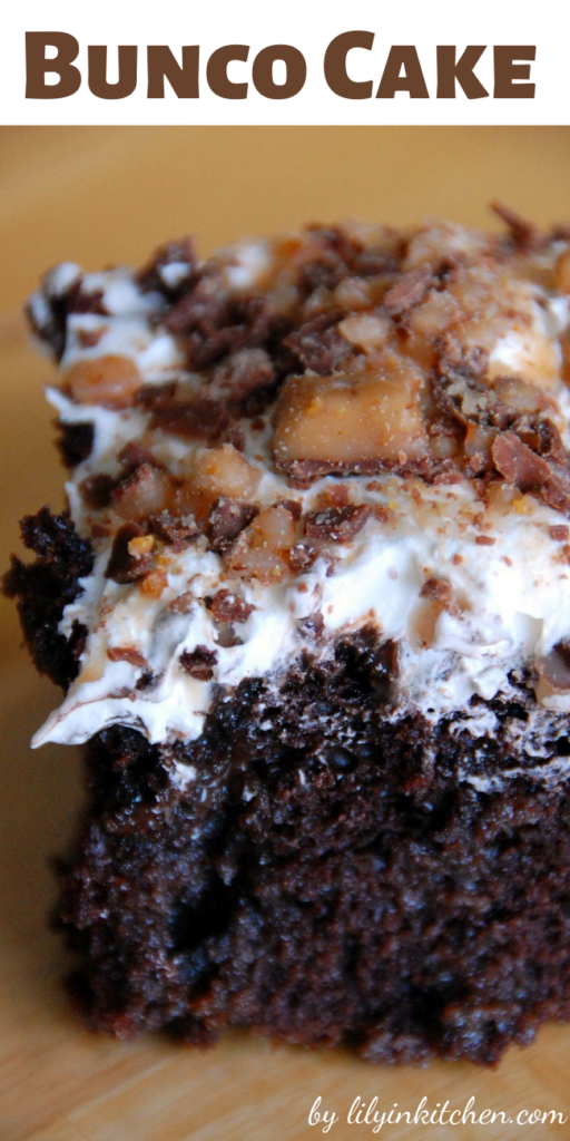 If you need a chocolate fix this Bunco Cake is it! I know that this is a pretty well known recipe and that there are many versions, but this is my favorite one.