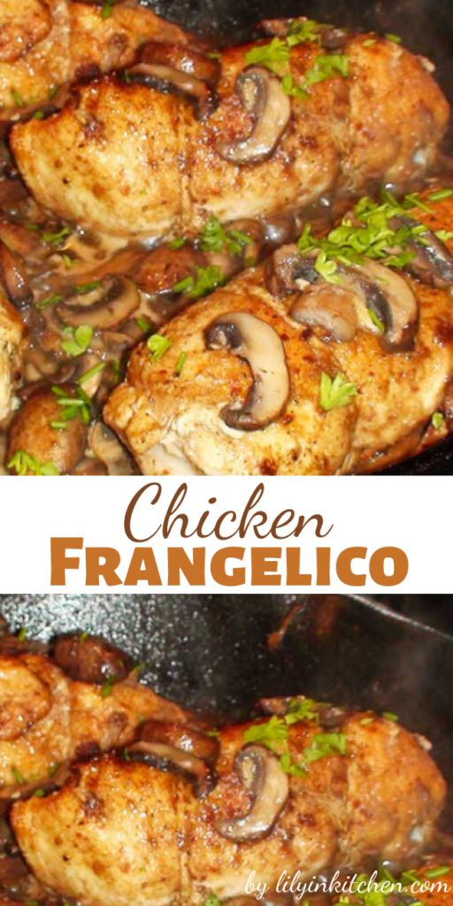 This Chicken Frangelico is an easy but elegant weeknight dinner with stuffed chicken breasts, mushrooms, and potatoes in a Frangelico pan sauce.