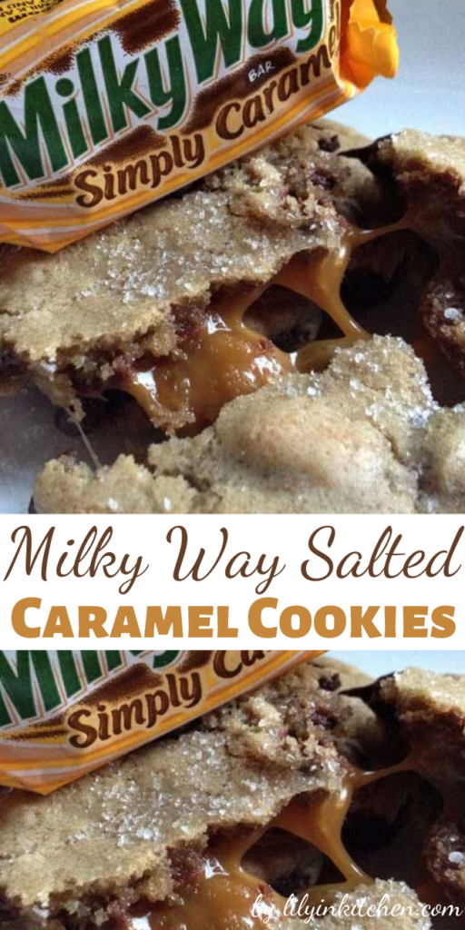 Salted Caramel is all the rage lately! Here is a chocolate chip cookie that is updated with the sweet Milky Way Simply Caramel fun size candy bars and Sea Salt, of course!