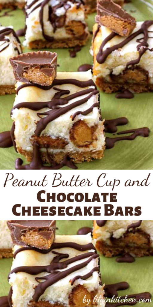 After adding chopped Peanut Butter Cups to the filling, and drizzling the baked bars with melted chocolate; I was rewarded with these Peanut Butter Cup and Chocolate Cheesecake Bars that are delicious beyond words!
