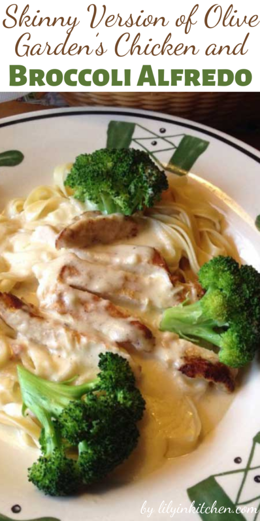 A quick, easy and skinny weeknight meal, this Skinny Version of Olive Garden's Chicken and Broccoli Alfredo will become a staple in your home. Kids won't complain about having to eat their broccoli when it's mixed with such creamy, cheesy goodness, and you'll love the dish for it's healthier ingredients.
