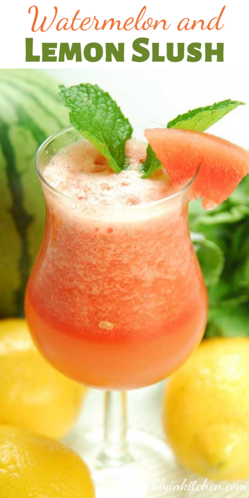 The warm summer sun calls for a refreshing drink, and this healthy, Watermelon and Lemon Slush is sure to hit the spot.