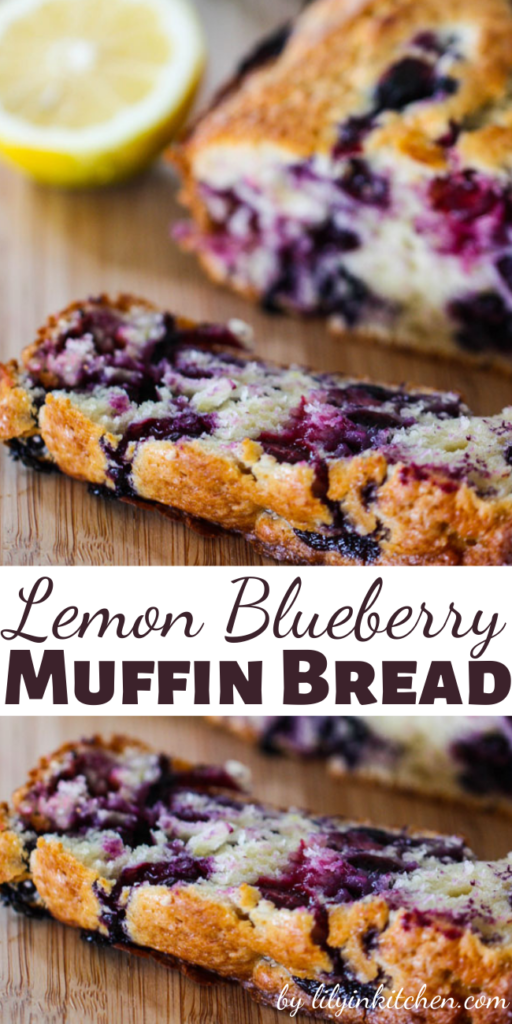 Recipe for Lemon Blueberry Muffin Bread – This sweet breakfast bread tastes just like a giant blueberry muffin.