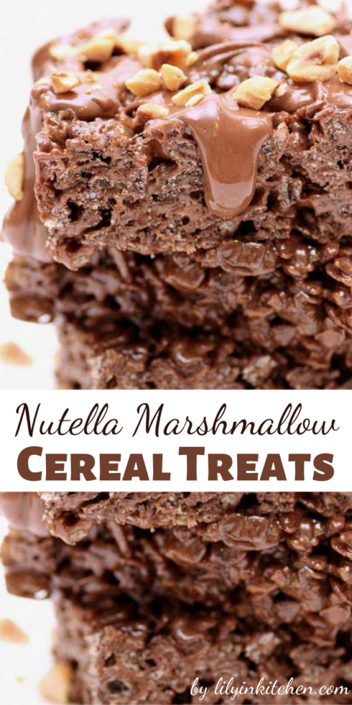 Recipe for Nutella Marshmallow Cereal Treats – You will never go back to plain rice treats after these. Chocolate and Nutella take them way over the top!