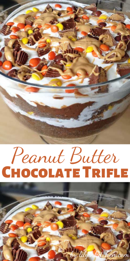 I love me a delicious trifle.. the mixture of cake, pudding, whipped cream and candy is the best of all worlds!! This Peanut Butter Chocolate Trifle includes two of my favorite things.. peanut butter and chocolate. Turned out amazing!!