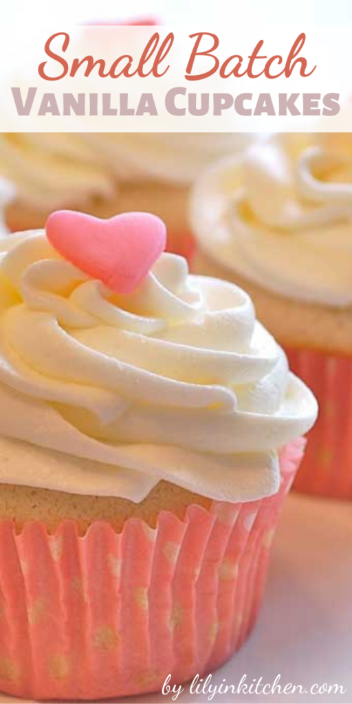 Do you know those times when you want to make a few cupcakes, and NOT 2 dozen? This Small Batch Vanilla Cupcakes recipe is PERFECT for those moments!