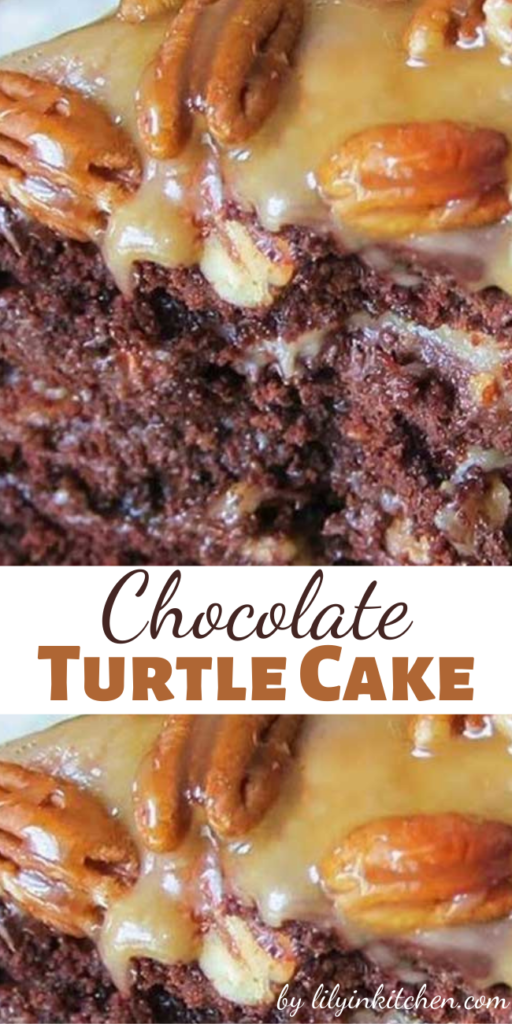 This decadent Chocolate Turtle Cake showcases a creamy caramel layer on top of a rich chocolate cake. A small slice goes a long way to satisfy that sweet tooth.