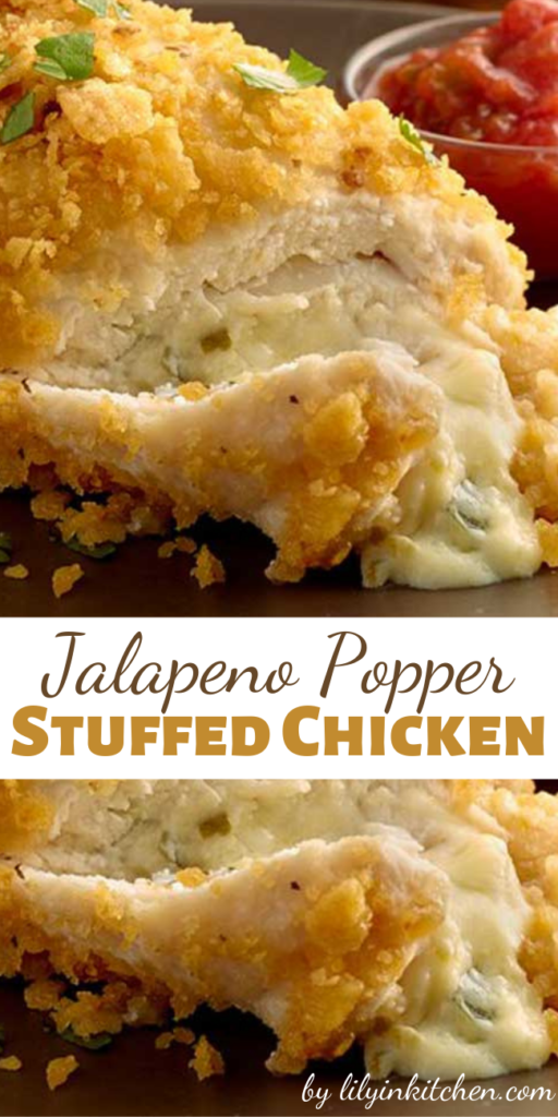 The crunchy coating and creamy jalapeño filling in this Jalapeno Popper-Stuffed Chicken is sure to be a hit!