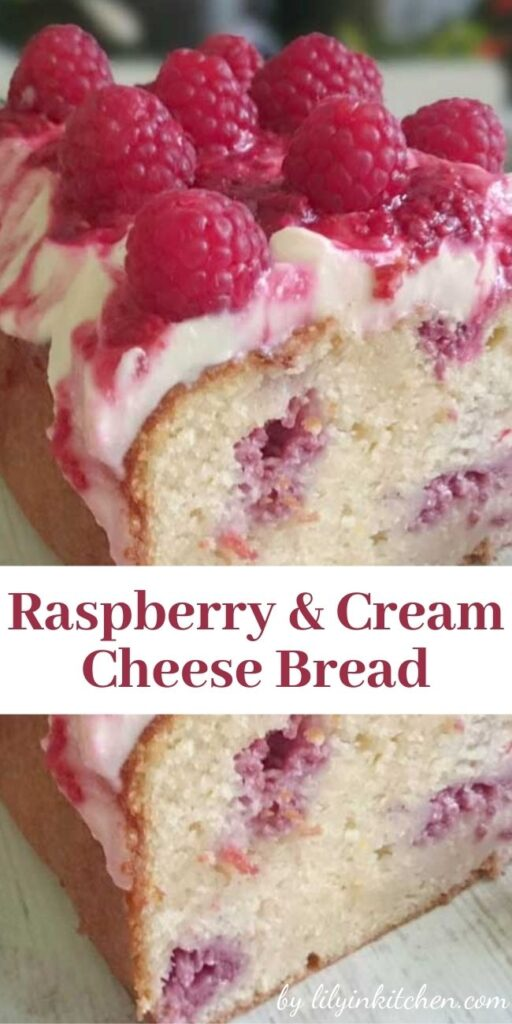 This Raspberry & Cream Cheese Bread is so yummy…full of delicious raspberries and topped with a scrumptious Cream Cheese Frosting and Raspberry drizzle.