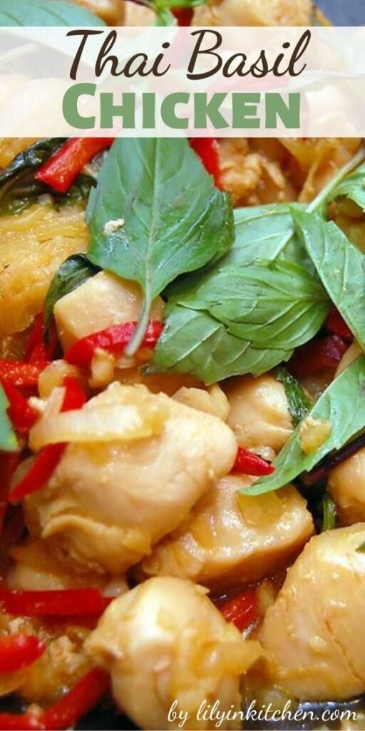 This Thai Basil Chicken is a healthy, Thai-influenced dish that isn't too spicy and has lots of texture, with the moist chicken and crunchy cashews.
