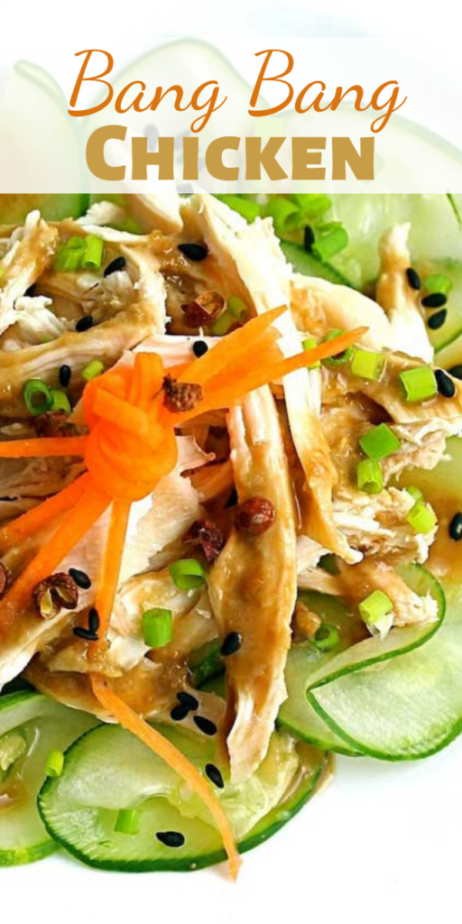 This Bang Bang Chicken is a refreshing dish of cucumbers and chicken topped with a nutty sauce spiked with Sichuan pepper.