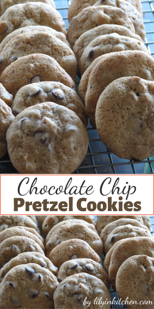 With the addition of crushed pretzels to the cookie dough, these easy Chocolate Chip Pretzel Cookies are the perfect balance between salty and sweet.