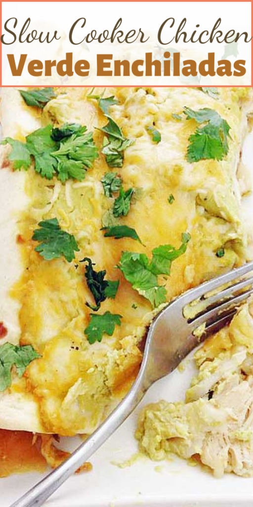 Fall off the bone chicken mixed with salsa verde and topped with a avocado yogurt sauce to make one creamy Slow Cooker Chicken Verde Enchilada recipe.
